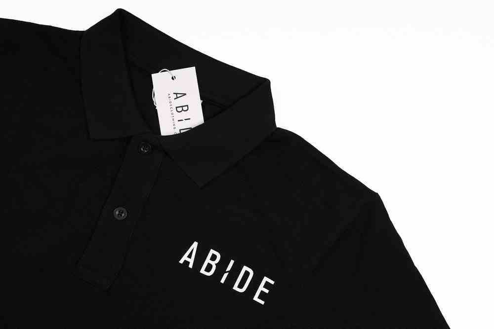 Mens Pique Polo: Abide, Small, Black With White Print (Abide T-shirt Apparel Series) Soft Goods