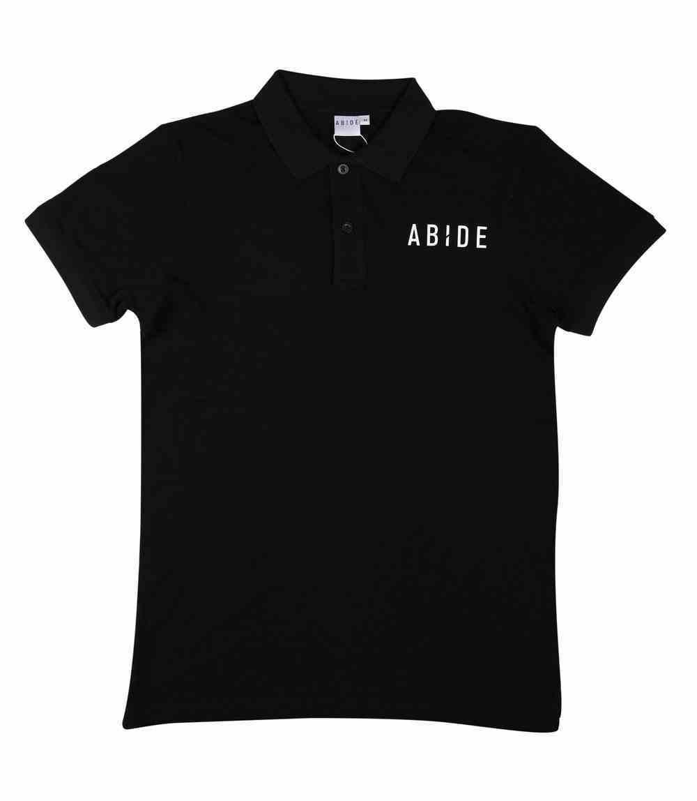 Mens Pique Polo: Abide, Medium, Black With White Print (Abide T-shirt Apparel Series) Soft Goods
