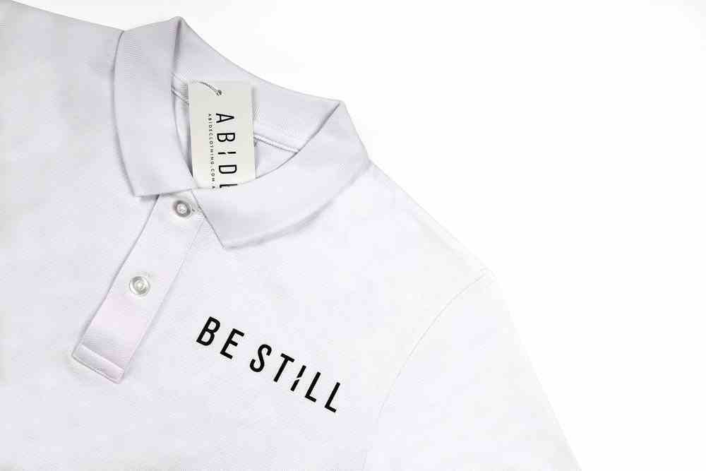 Mens Pique Polo: Be Still, Small, White With Black Print (Abide T-shirt Apparel Series) Soft Goods