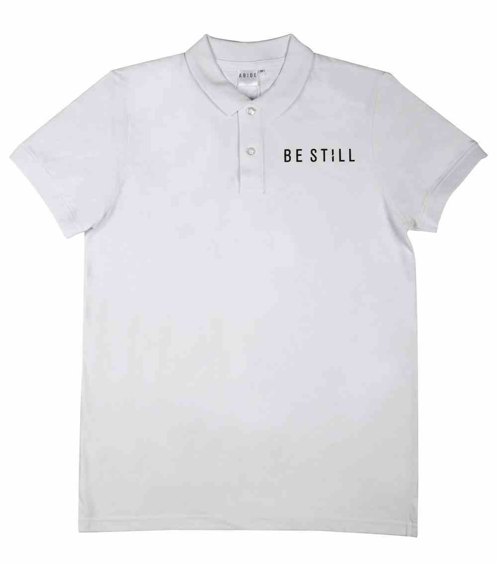Mens Pique Polo: Be Still, Large, White With Black Print (Abide T-shirt Apparel Series) Soft Goods