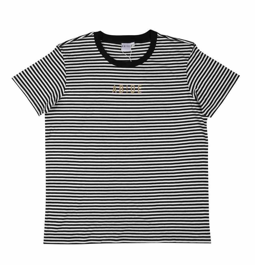 Womens Bowery Stripe Tee: Abide, Xsmall, Black/Natural With Gold Metallic Print (Abide T-shirt Apparel Series) Soft Goods