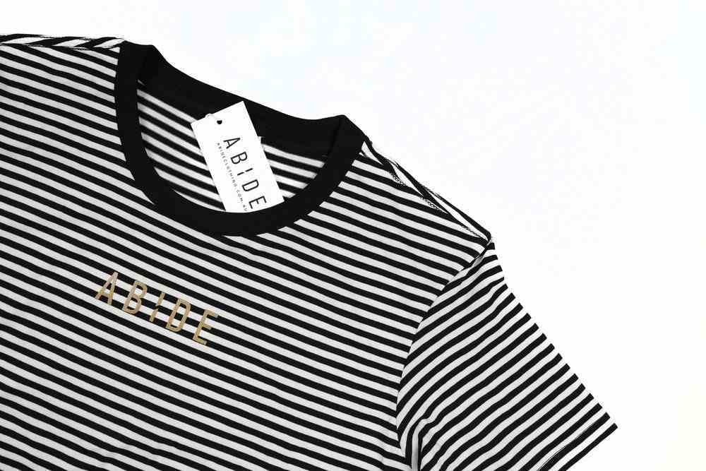 Womens Bowery Stripe Tee: Abide, Small, Black/Natural With Gold Metallic Print (Abide T-shirt Apparel Series) Soft Goods
