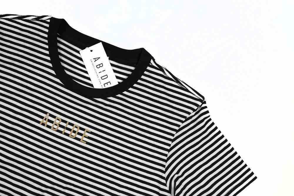 Womens Bowery Stripe Tee: Abide, Medium, Black/Natural With Gold Metallic Print (Abide T-shirt Apparel Series) Soft Goods