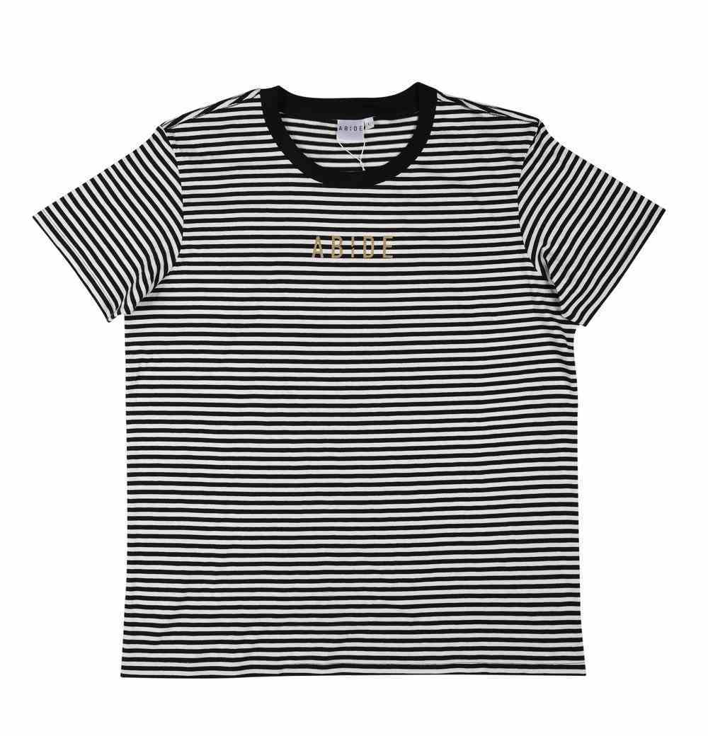 Womens Bowery Stripe Tee: Abide, Large, Black/Natural With Gold Metallic Print (Abide T-shirt Apparel Series) Soft Goods