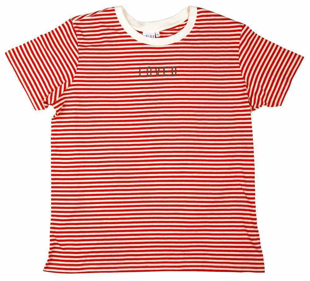 Womens Bowery Stripe Tee: Loved, Xsmall, Red/Natural With Black Metallic Print (Abide T-shirt Apparel Series) Soft Goods