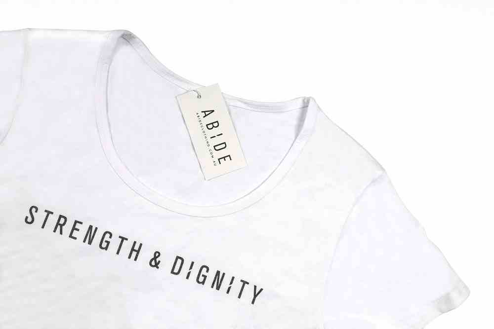 Womens Mali Tee: Strength & Dignity, Medium, White With Black Metallic Print (Abide T-shirt Apparel Series) Soft Goods