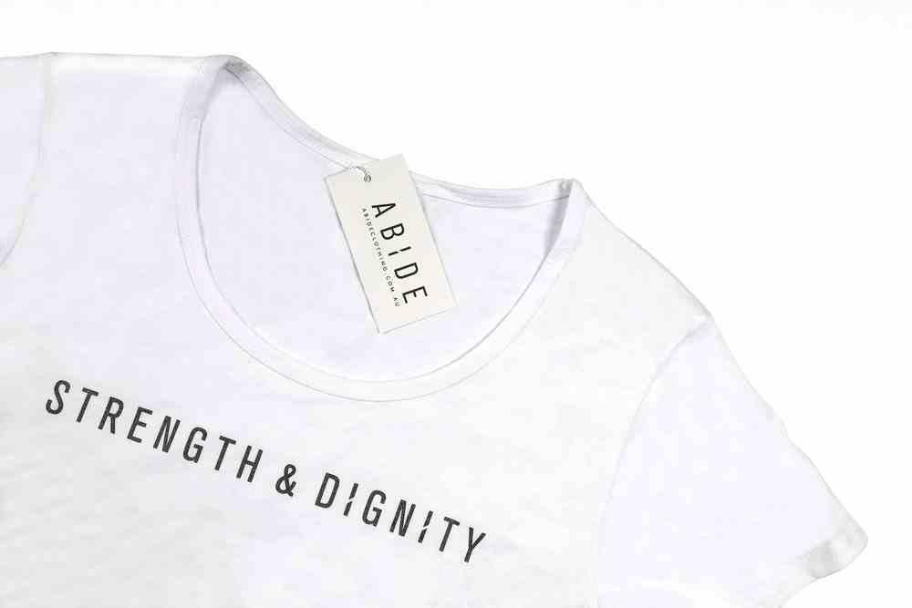 Womens Mali Tee: Strength & Dignity, Large, White With Black Metallic Print (Abide T-Shirt Apparel Series) (Abide T-shirt Apparel Series) Soft Goods
