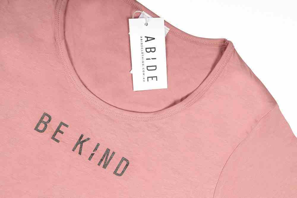Womens Mali Tee: Be Kind, Large, Rose With Black Metallic Print (Abide T-shirt Apparel Series) Soft Goods