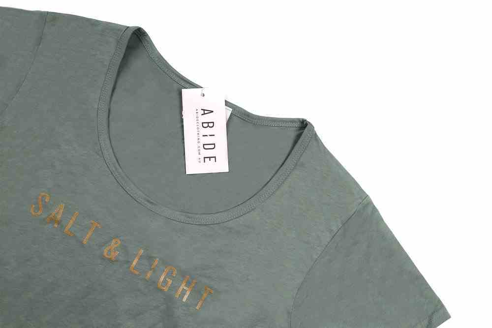 Womens Mali Tee: Salt & Light, Xsmall, Sage With Gold Metallic Print (Abide T-shirt Apparel Series) Soft Goods