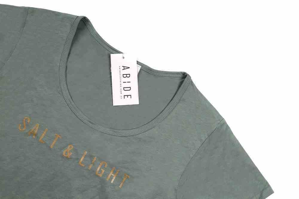 Womens Mali Tee: Salt & Light, Medium, Sage With Gold Metallic Print (Abide T-shirt Apparel Series) Soft Goods