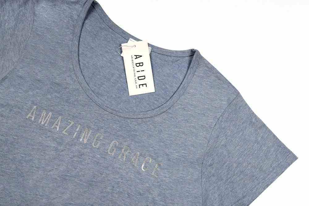 Womens Mali Tee: Amazing Grace, Xsmall, Light Blue Marle With Silver Metallic Print (Abide T-shirt Apparel Series) Soft Goods