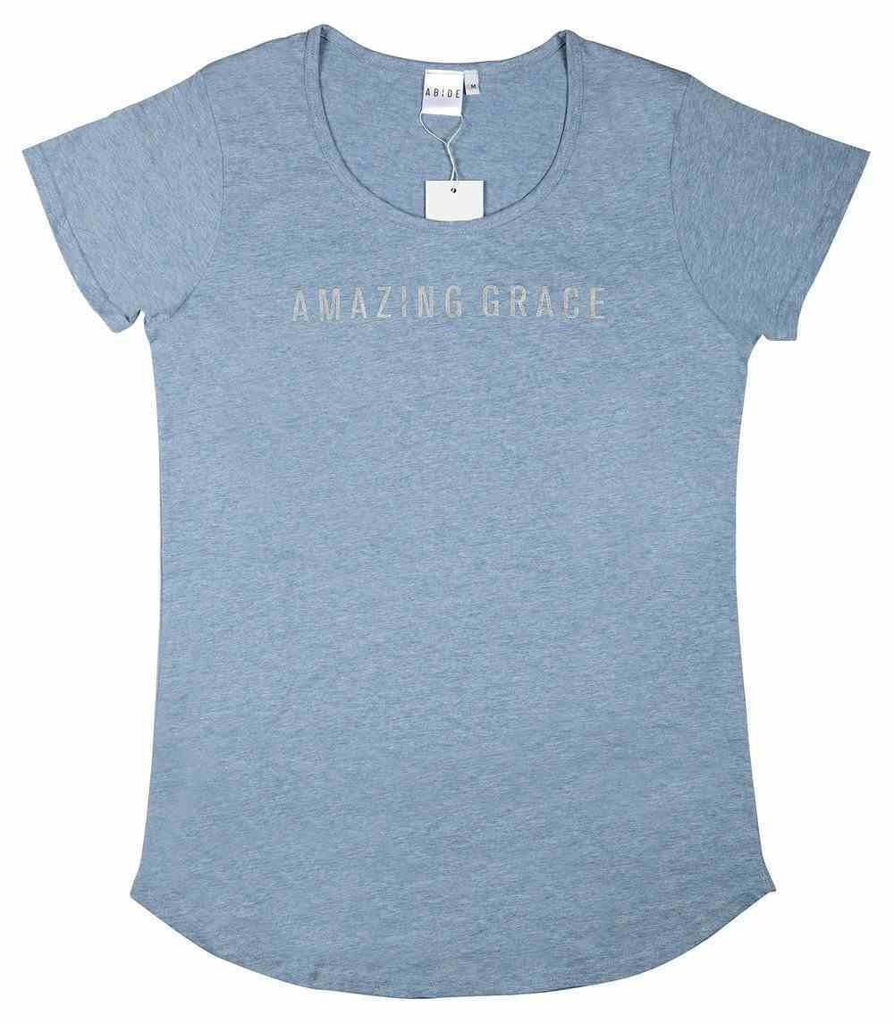 Womens Mali Tee: Amazing Grace, Large, Light Blue Marle With Silver Metallic Print (Abide T-shirt Apparel Series) Soft Goods