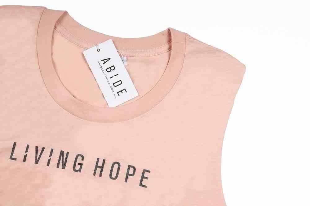Womens Brooklyn Tank: Living Hope, Small, Pale Pink With Black Metallic Print (Abide T-shirt Apparel Series) Soft Goods