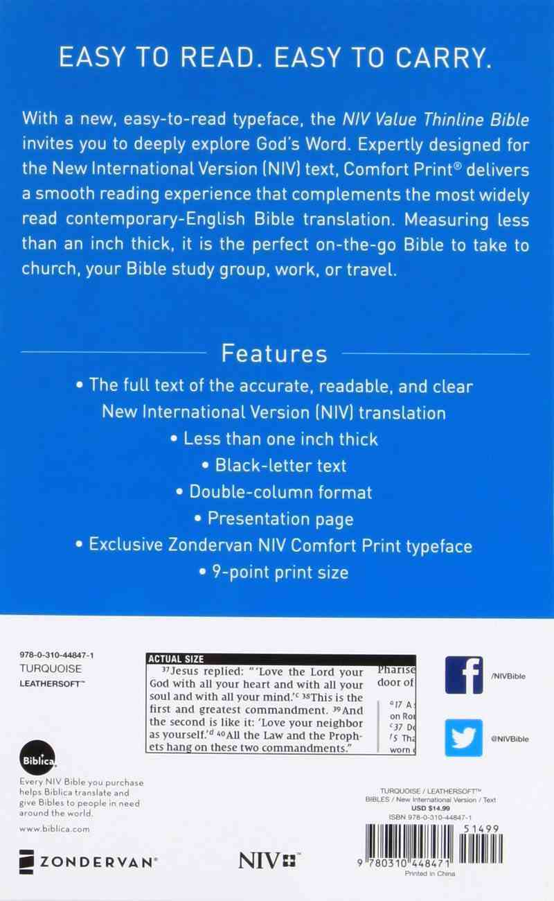 NIV Value Thinline Bible Blue (Black Letter Edition) Premium Imitation Leather