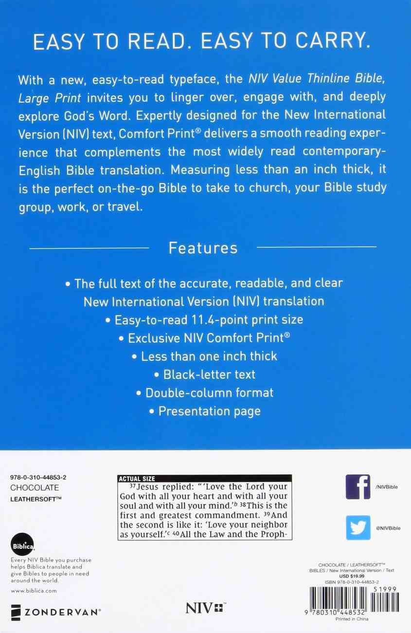 NIV Value Thinline Bible Large Print Brown (Black Letter Edition) Premium Imitation Leather