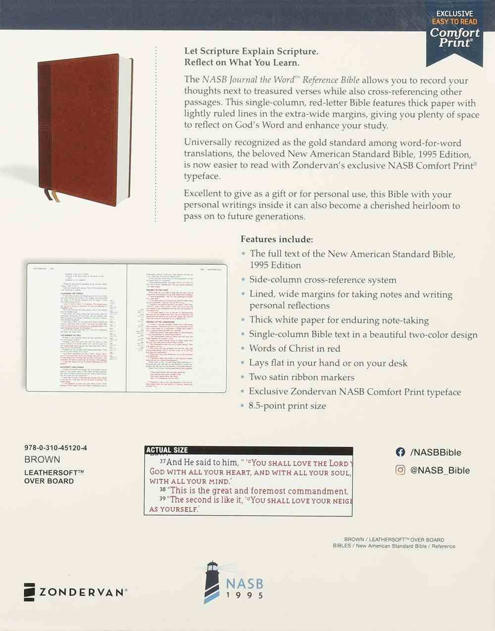 NASB Journal the Word Reference Bible Brown 1995 Text (Red Letter Edition) Imitation Leather Over Hardback