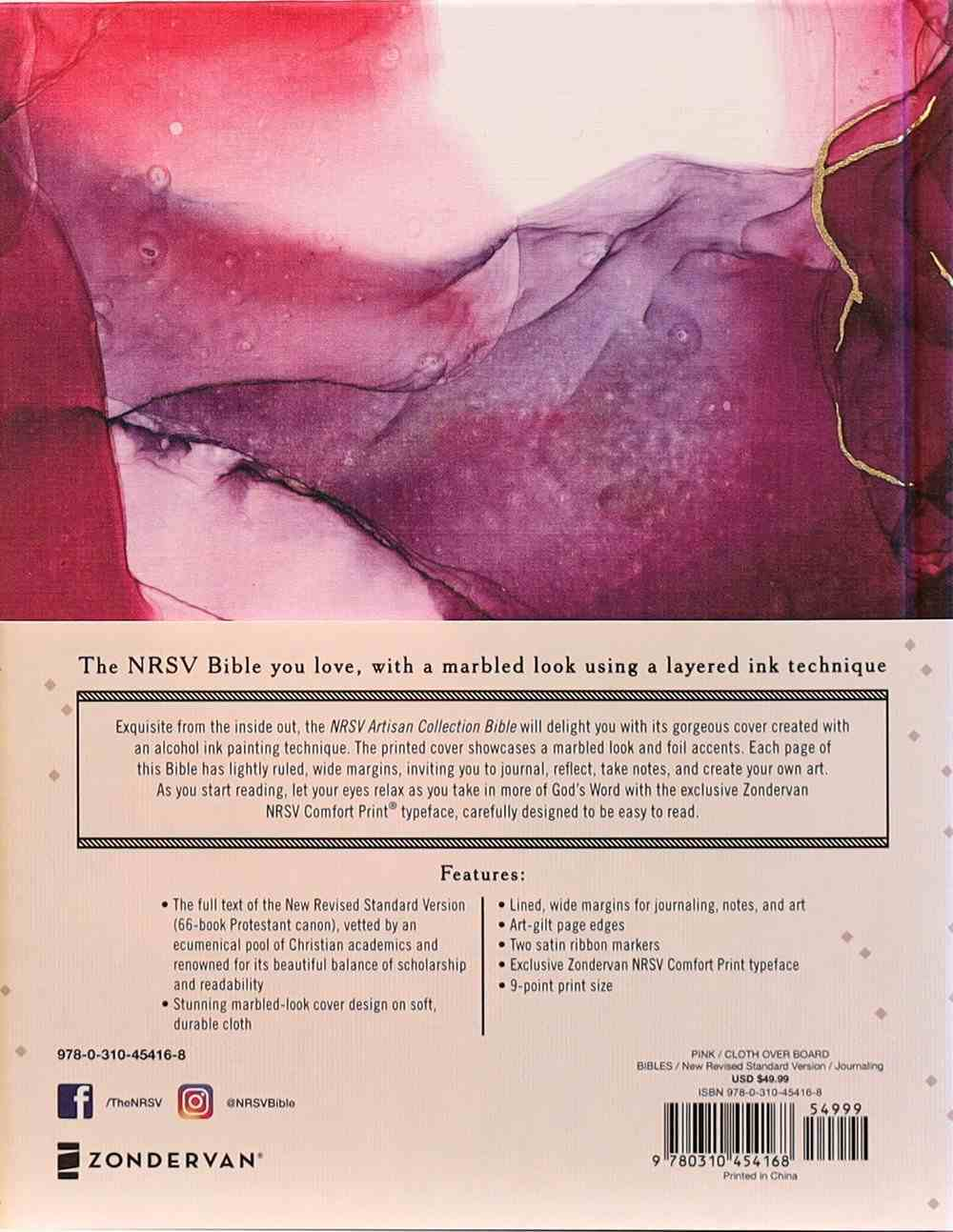 NRSV Artisan Collection Bible Pink Fabric Over Hardback