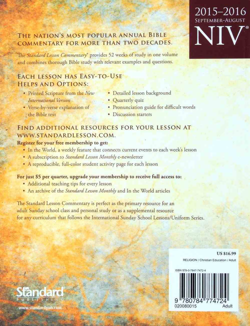 NIV Standard Lesson Study Bible Hardback