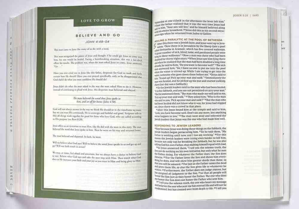 NET Love God Greatly Bible Green Hardback