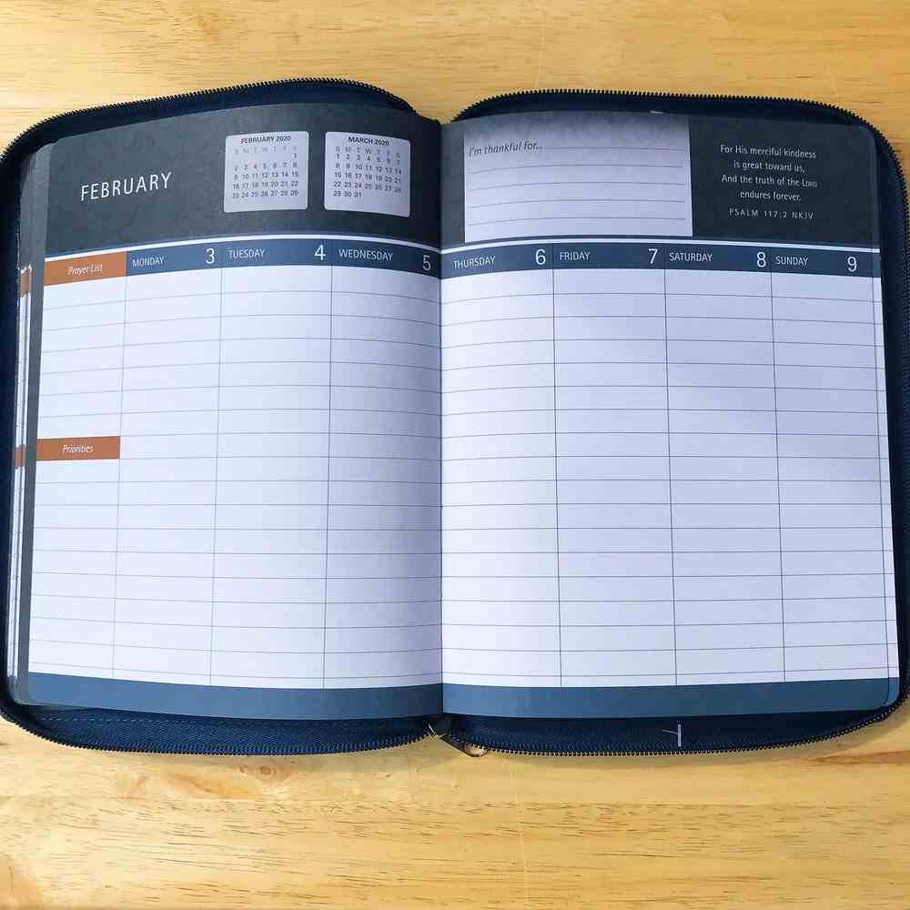 2020 16-Month Weekly Diary/Planner: For I Know the Plans, Navy/White/Red Stars Jer 29:11 (Faux Ziparound) Imitation Leather