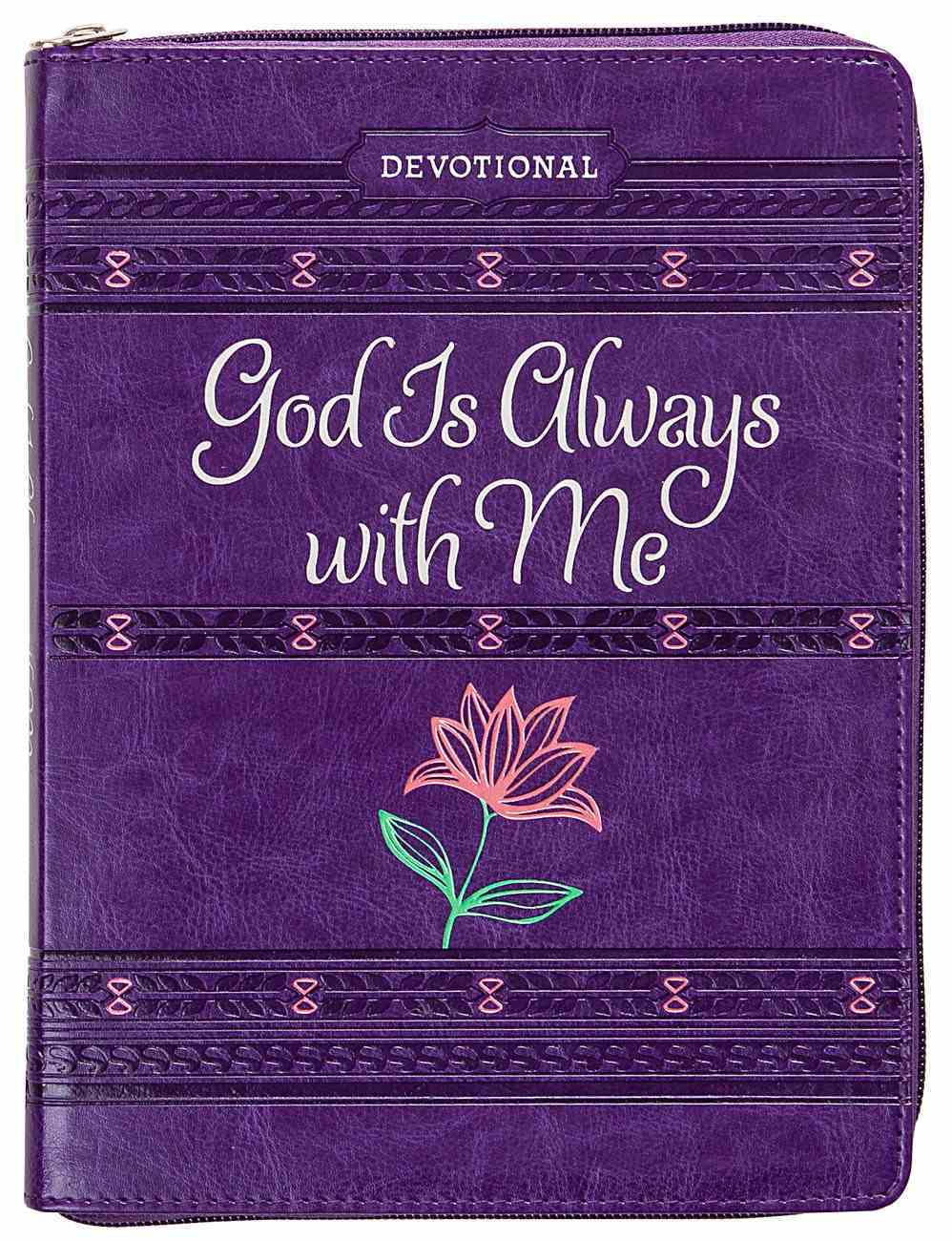 God is Always With Me Devotional Journal, Ziparound, Purple Imitation Leather