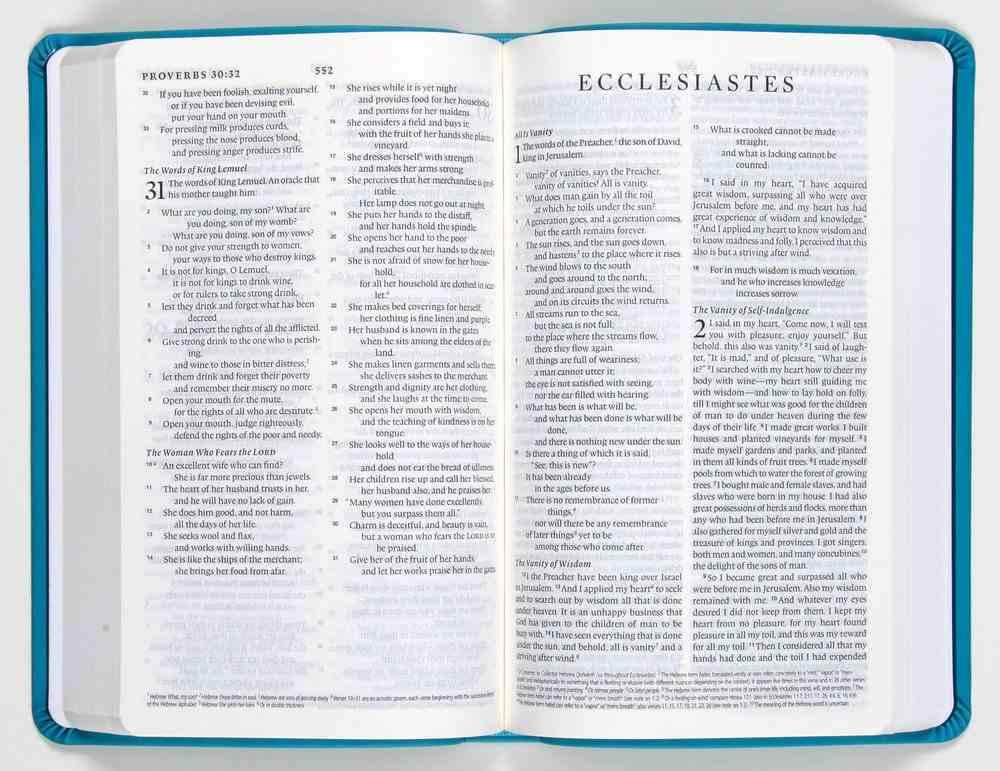 ESV Premium Gift Bible Teal Floral Design (Black Letter Edition) Imitation Leather