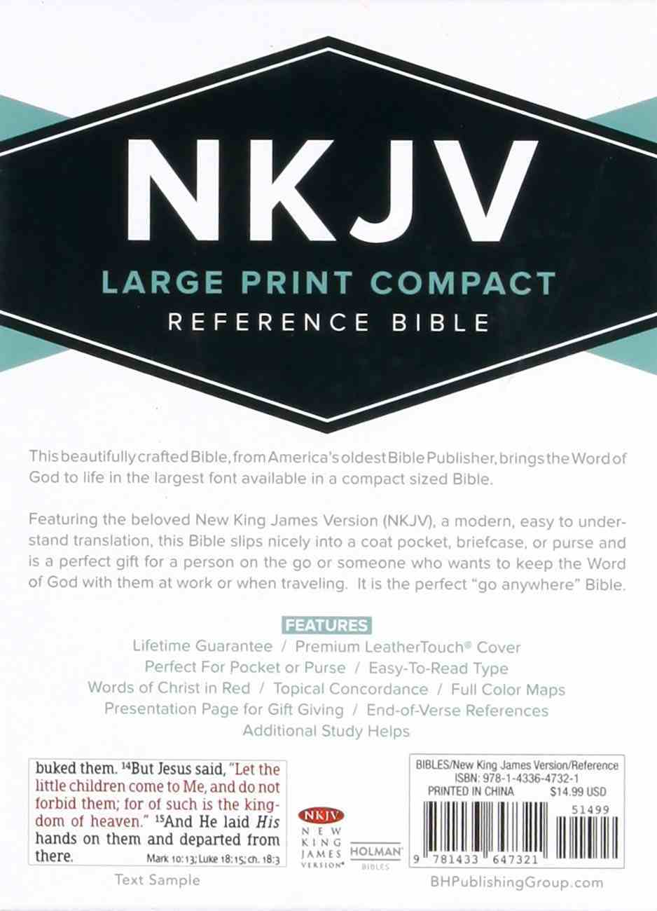 NKJV Large Print Compact Reference Bible Charcoal Red Letter Edition Imitation Leather