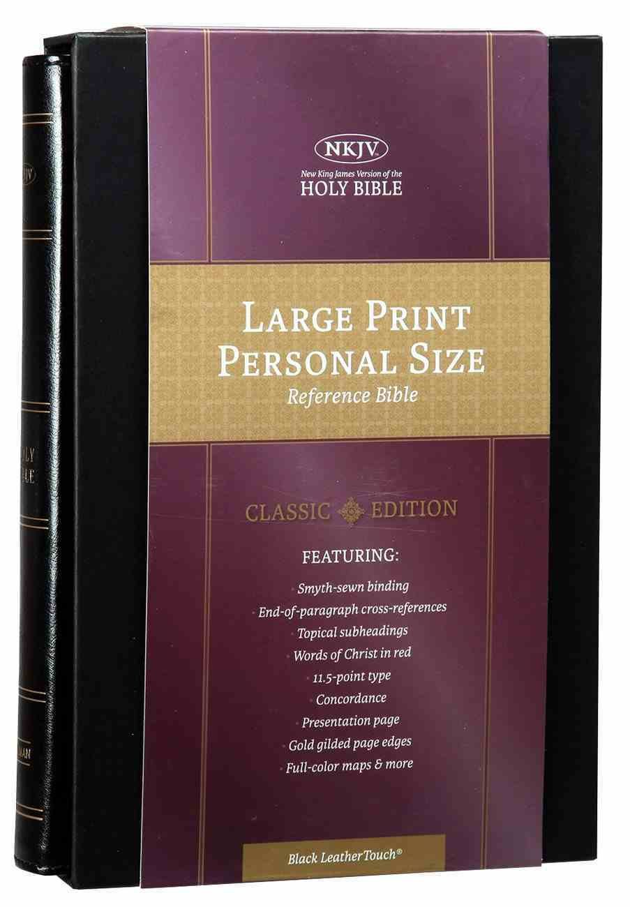 NKJV Large Print Personal Size Reference Bible Classic Black (Red Letter Edition) Imitation Leather