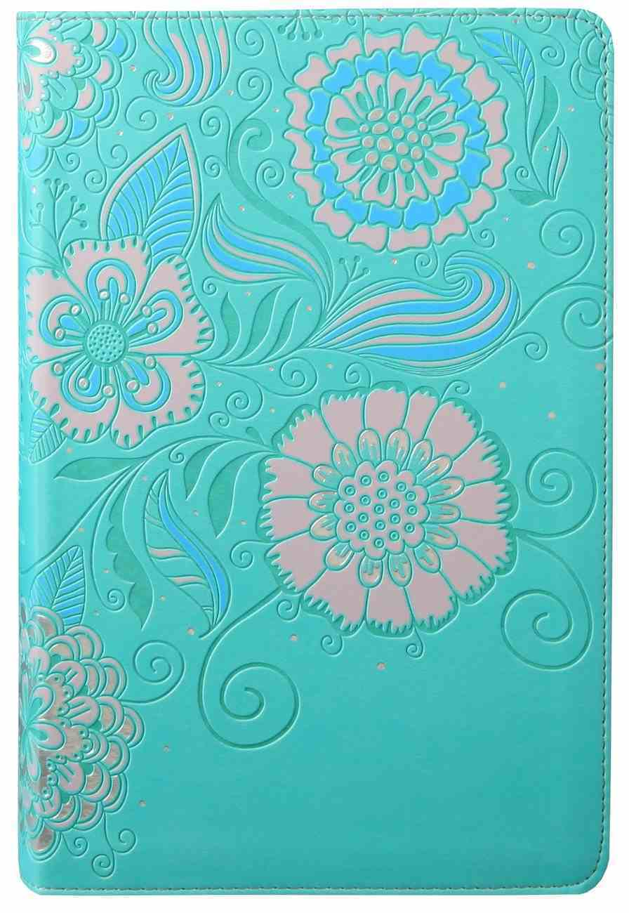 NLT Girls Life Application Study Bible Teal/Pink Flowers (Black Letter Edition) Imitation Leather