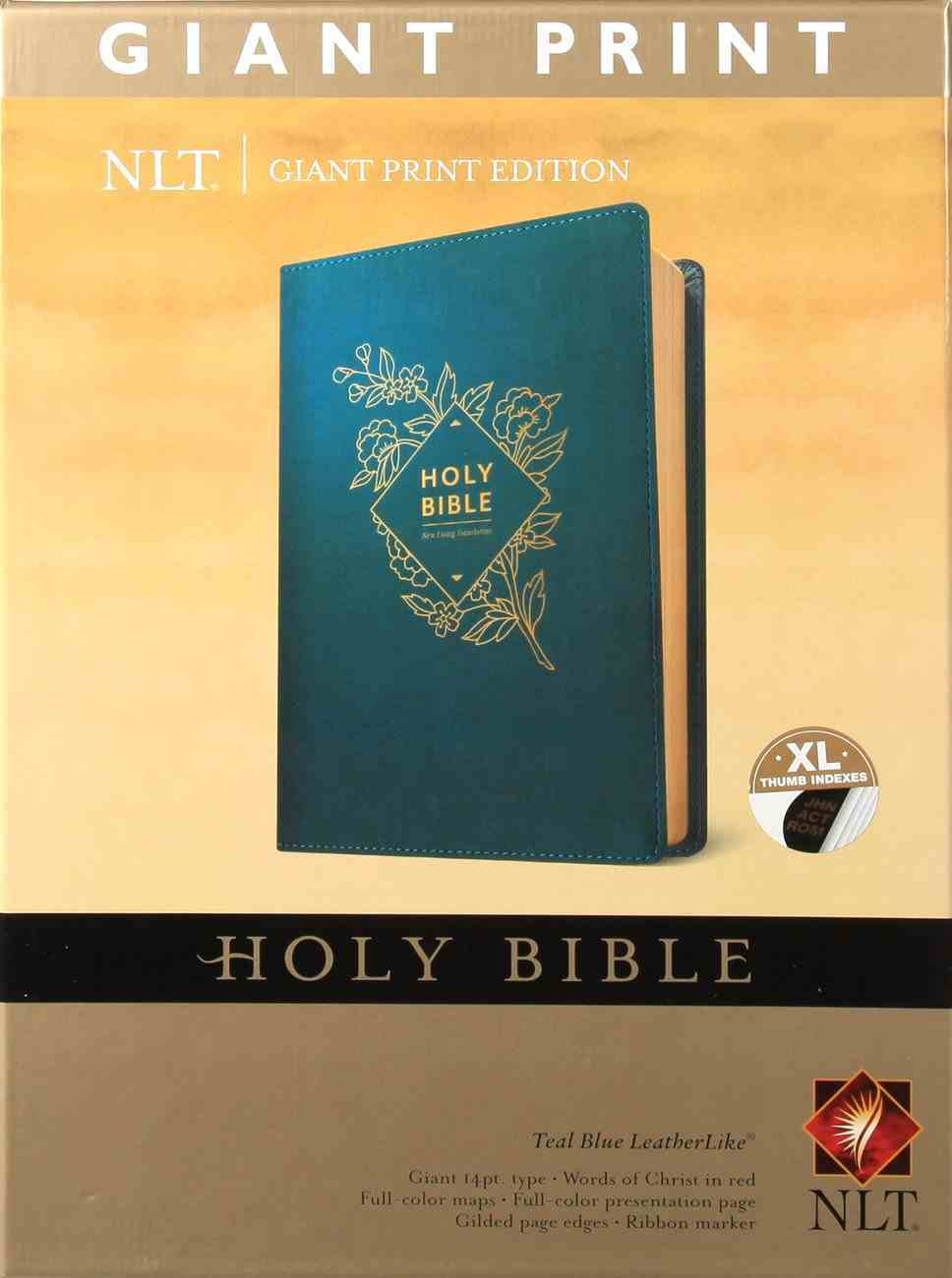 NLT Holy Bible Giant Print Teal Blue Indexed (Red Letter Edition) Imitation Leather