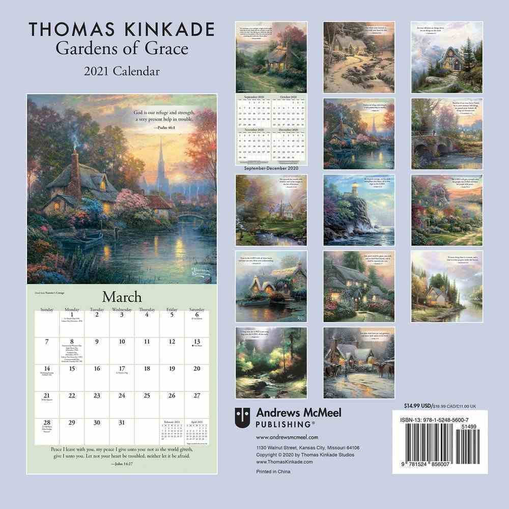 2021 Wall Calendar: Thomas Kinkade Gardens of Grace With Scripture Calendar