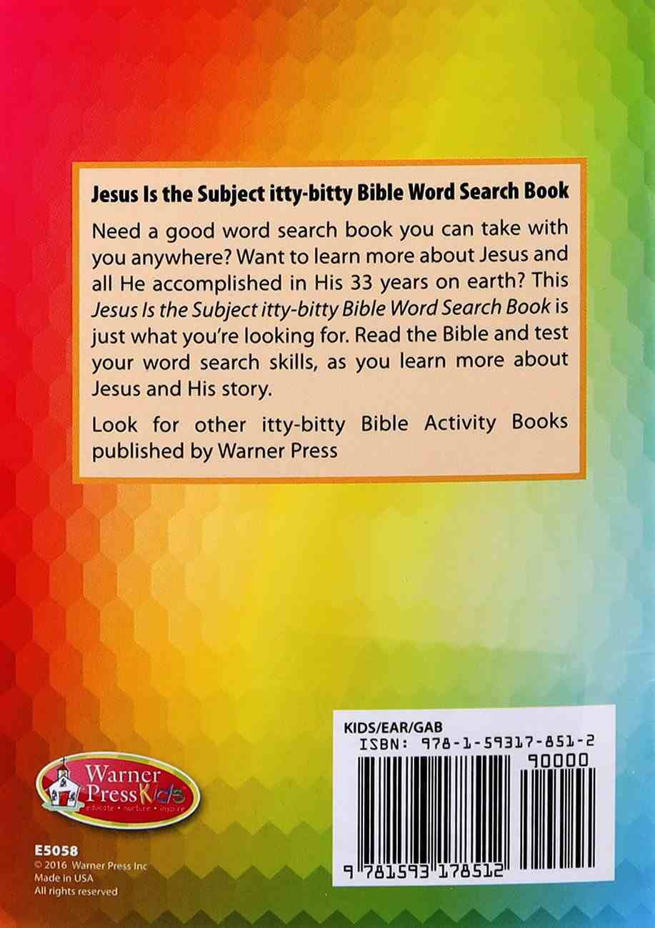Activity Book Jesus is the Subject Word Search Puzzles (Ages 5-10) (Itty Bitty Bible Series) Paperback