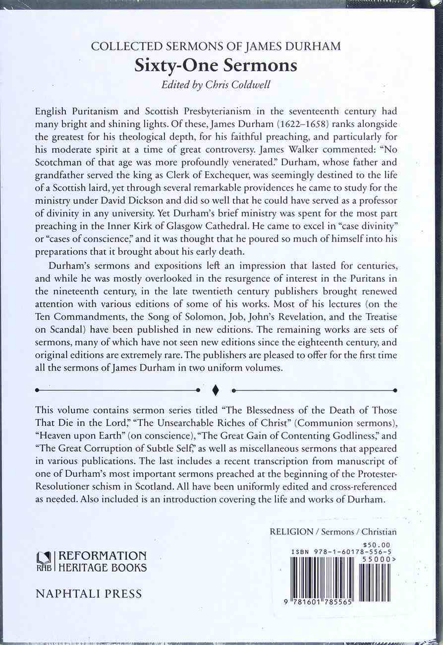 Collected Sermons of James Durham #01: 61 Sermons Hardback