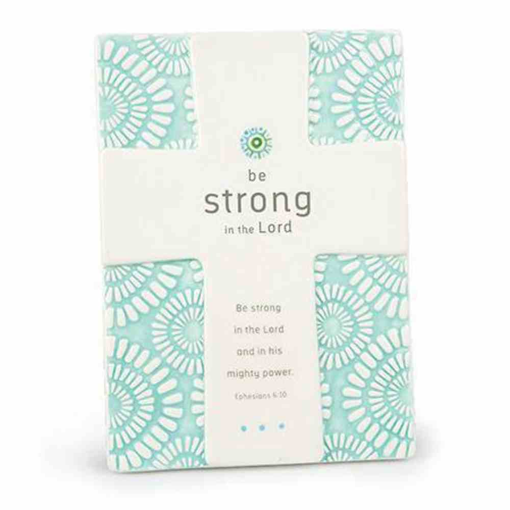 Cross Ceramic Statements: Be Strong in the Lord Light Blue/White (Eph 6:10) Homeware