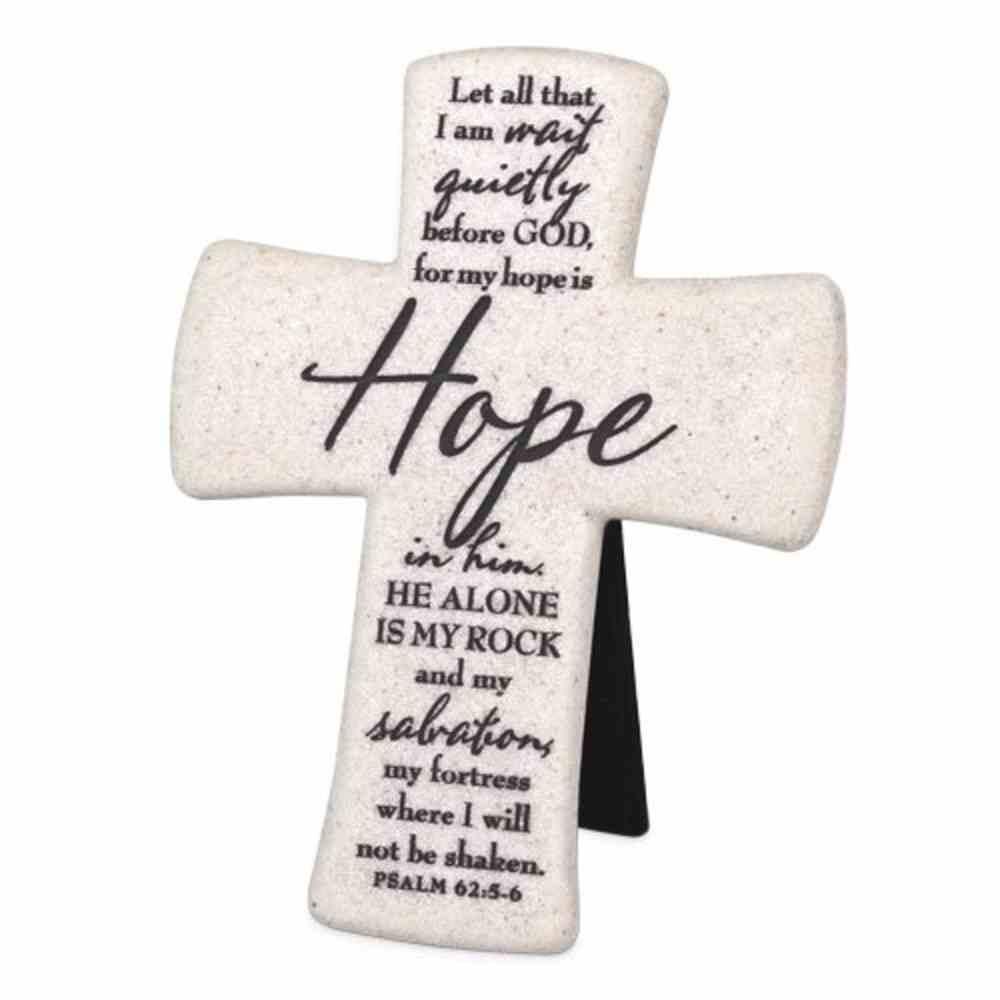 Cast Stone Desktop Cross: Scripture Hope (Psalm 62:5-6) Homeware