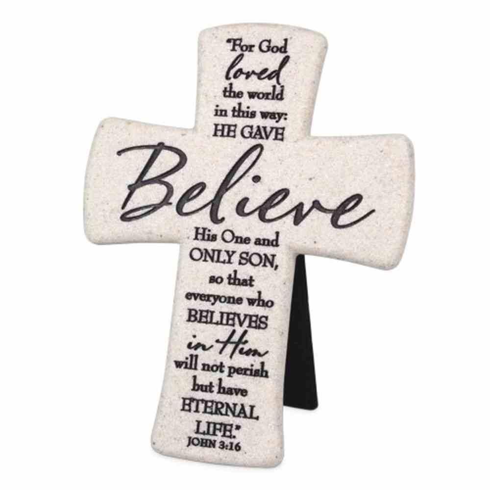 Cast Stone Desktop Cross: Scripture Believe (John 3:16) Homeware