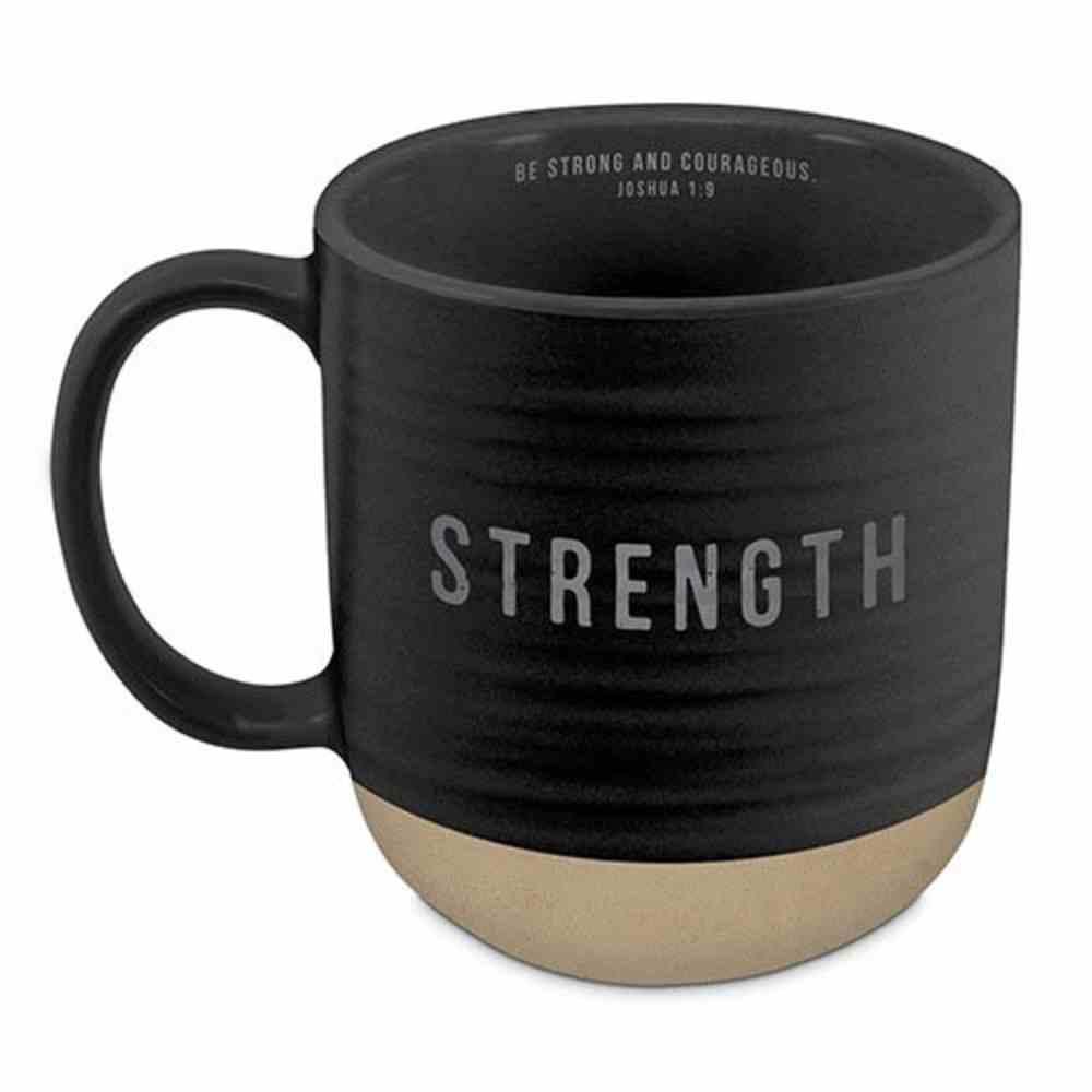 Ceramic Mug: Strength (Joshua 1:9) Black Texture (532ml) Homeware