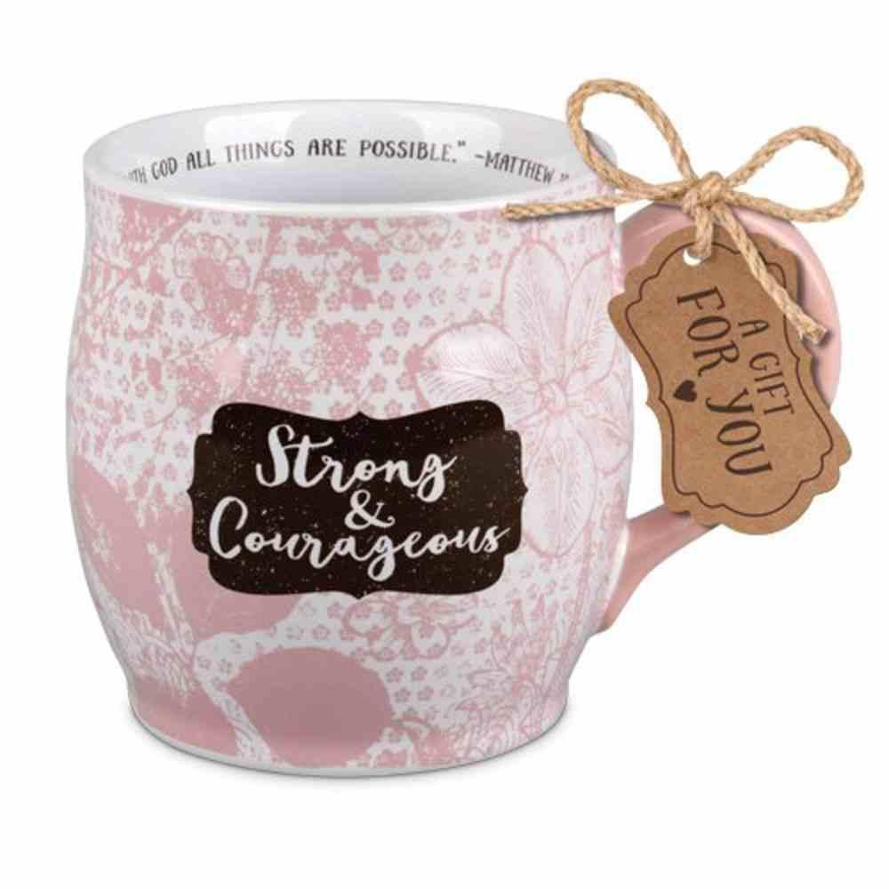 Ceramic Mug Pretty Prints: Strong & Courageous, Pale Pink/White (Matthew 19:26) Homeware