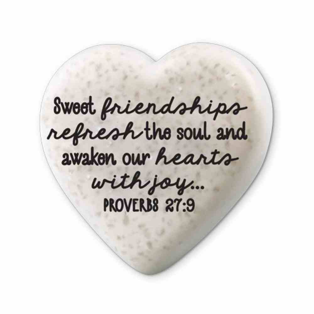 Plaque Scripture Stone: Hearts of Hope - Friendships (Proverbs 27:9) Plaque