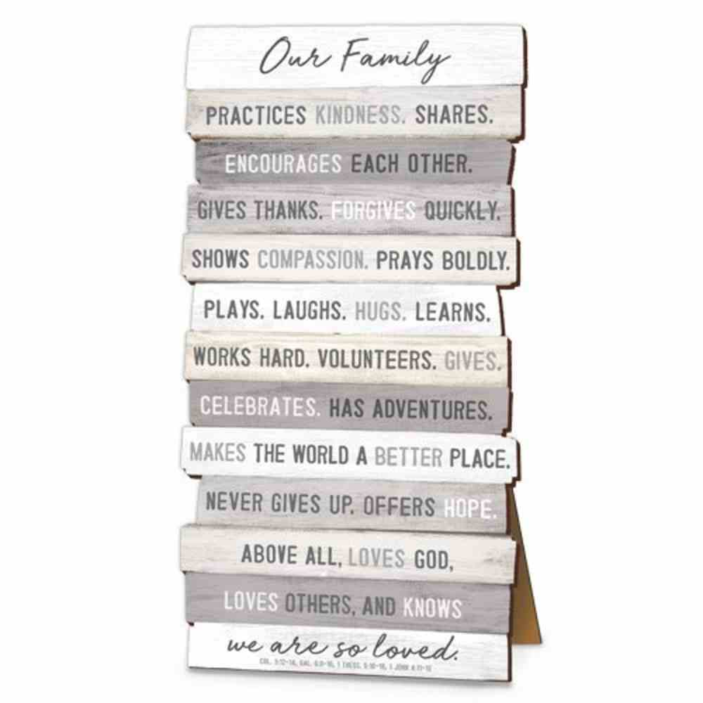 Stacked Wood Plaque: Our Family, Mdf, Easel Back Or Wall Hanging Option Plaque