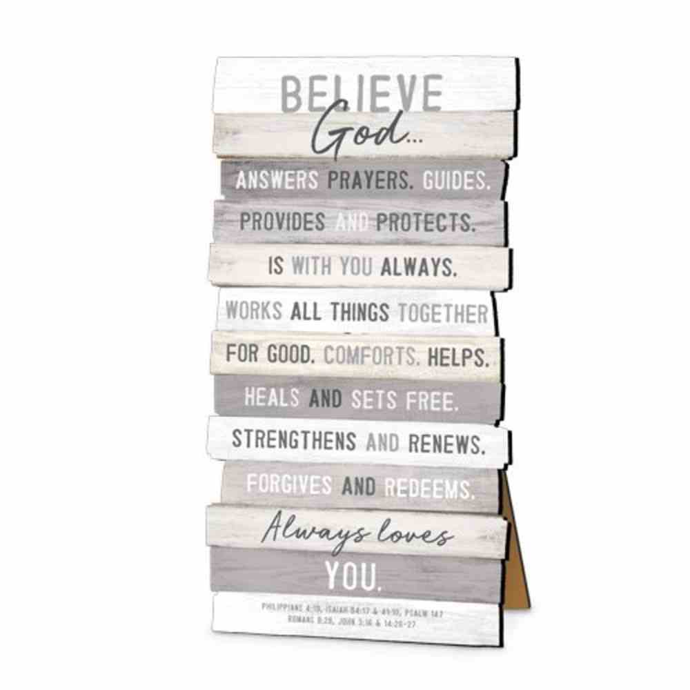 Stacked Wood Plaque: Believe, Mdf, Easel Back Or Wall Hanging Plaque