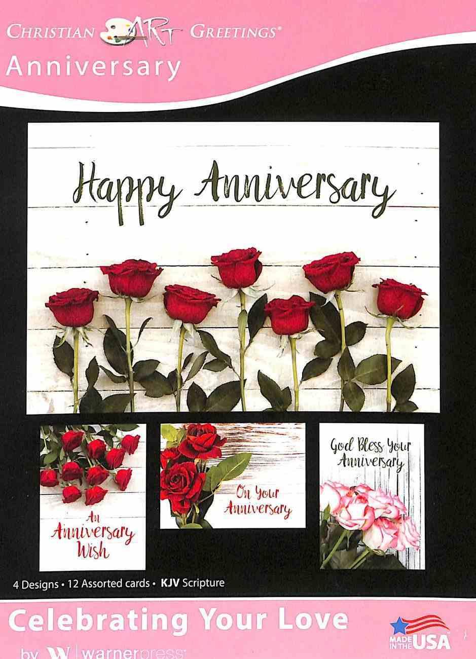 Boxed Cards: Anniversary - Celebrating Your Love Roses (Kjv) Box