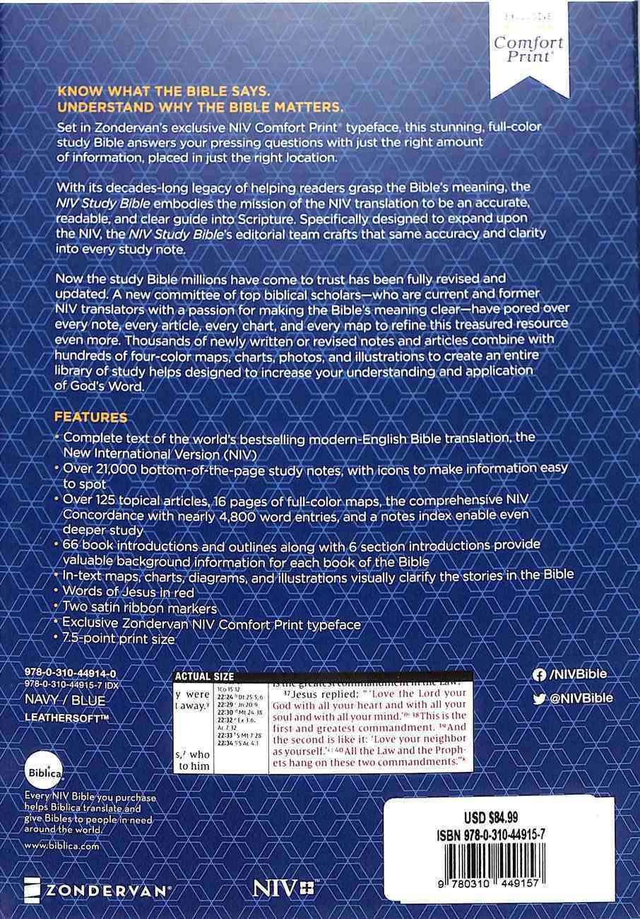 NIV Study Bible Personal Size Navy/Blue Indexed (Red Letter Edition) Fully Revised Edition (2020) Premium Imitation Leather