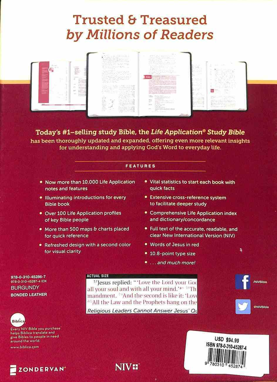 NIV Life Application Study Bible Third Edition Large Print Burgundy Indexed (Red Letter Edition) Bonded Leather