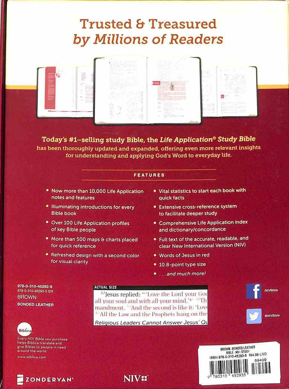 NIV Life Application Study Bible Third Edition Large Print Brown Indexed (Red Letter Edition) Bonded Leather