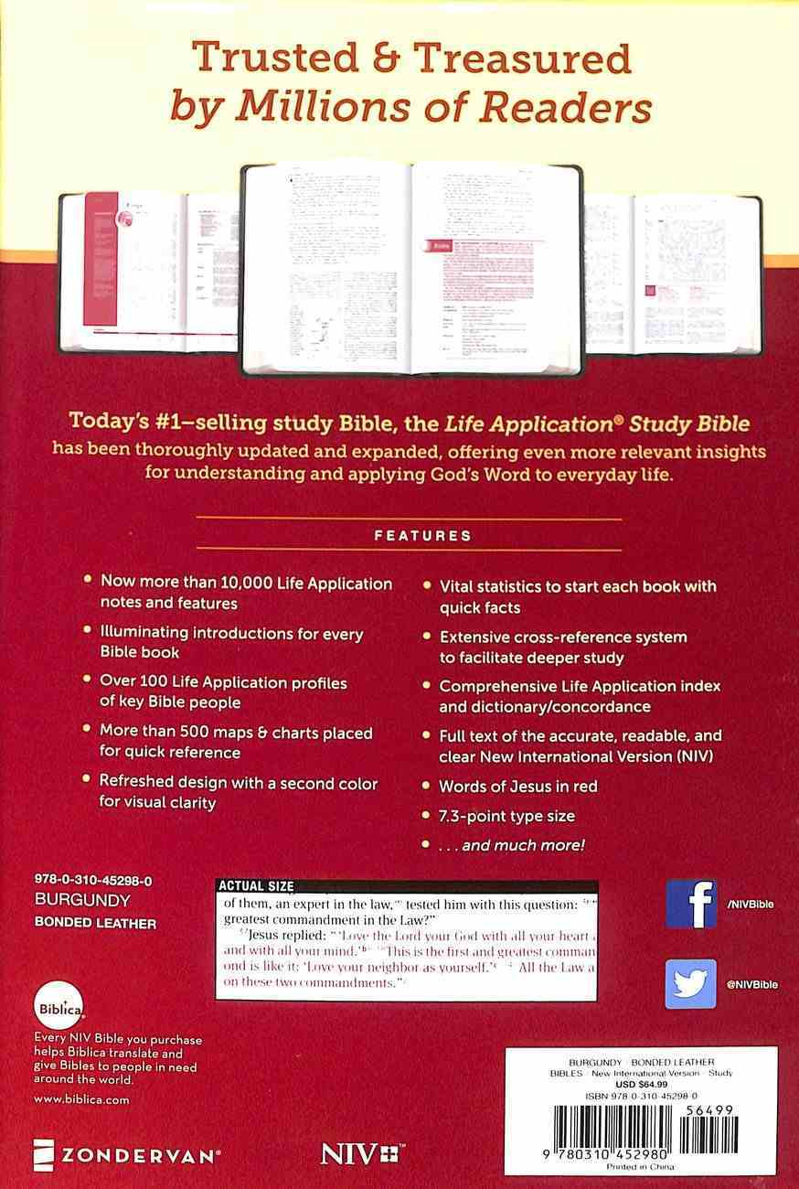 NIV Life Application Study Bible Third Edition Personal Size Burgundy (Red Letter Edition) Bonded Leather