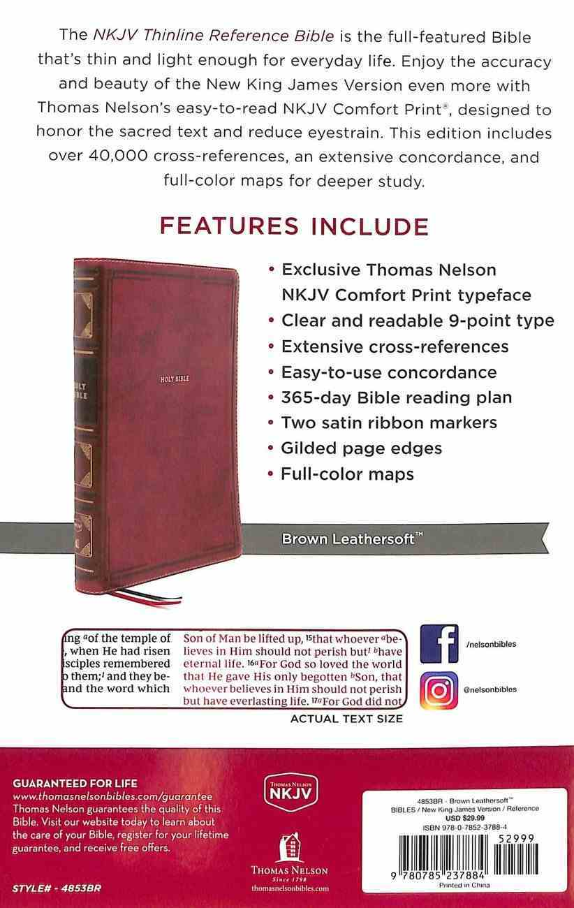 NKJV Thinline Reference Bible Brown (Red Letter Edition) Premium Imitation Leather