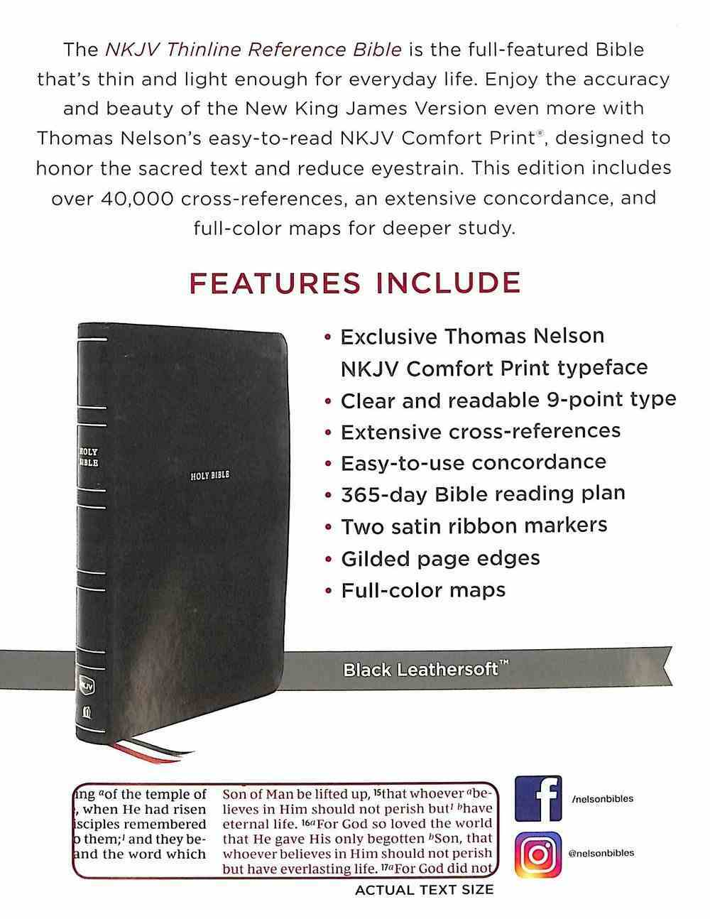 NKJV Thinline Reference Bible Black Thumb Indexed (Red Letter Edition) Premium Imitation Leather