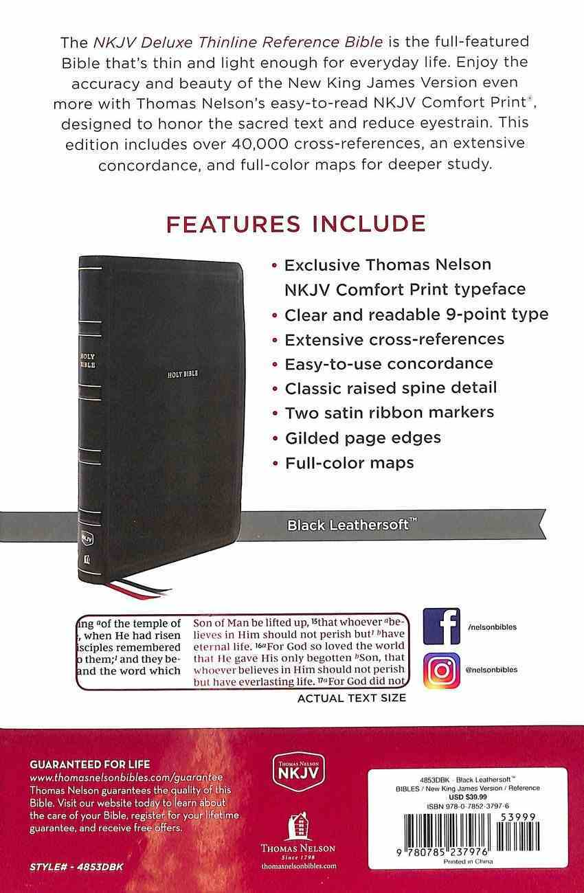 NKJV Deluxe Thinline Reference Bible Black (Red Letter Edition) Premium Imitation Leather