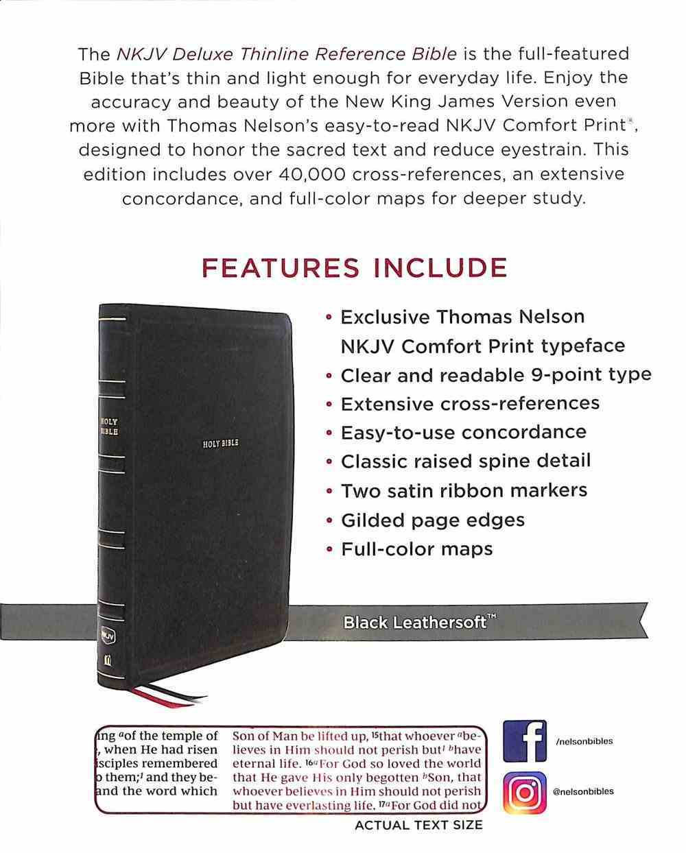 NKJV Deluxe Thinline Reference Bible Black Thumb Indexed (Red Letter Edition) Premium Imitation Leather
